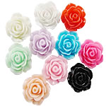 Resin Flower Cabochon, solid color, mixed, 20mm, Approx 3000PCs/Bag, Sold by Bag