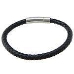 Cord lëkure byzylyk, Cowhide, with Stainless Steel, Shape Tjera, asnjë, asnjë, e zezë, 6mm, 31x9mm, :9Inç, 10Fillesat/Shumë,  Shumë