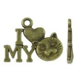 Pendants alfabet Zink Alloy, Alloy zink, Letër, Ngjyra antike bronz i praruar, asnjë, asnjë, , nikel çojë \x26amp; kadmium falas, 17x13.50x2mm, : 1.5mm, 1110PC/KG,  KG