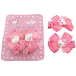 Hair Snap Clips, Bowknot, pink, with resin & velvet & satin & organza ribbon & acrylic rhinestone & iron, platinum color plated, 48x38x20mm, Approx 6Pairs/Lot, Sold by Lot