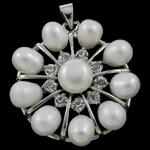 Pendants Pearl ujërave të ëmbla, Pearl kulturuar ujërave të ëmbla, with Tunxh, Lule, natyror, e bardhë, 31x34x9mm, : 3.5x5mm, 10PC/Qese,  Qese