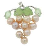 Pendants Pearl ujërave të ëmbla, Pearl kulturuar ujërave të ëmbla, with Aventurine jeshile & Tunxh, Hardhi, natyror, rozë, 37x42x13mm, : 3.5x5mm, 10PC/Qese,  Qese