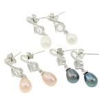 Një palë vathë Pearl ujërave të ëmbla, Pearl kulturuar ujërave të ëmbla, with Diamant i rremë, Shape Tjera, ngjyrë platin praruar, ngjyra të përziera, 8x26mm, 22x14x3.5cm, 36Çiftet/Kuti,  Kuti