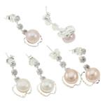 Një palë vathë Pearl ujërave të ëmbla, Pearl kulturuar ujërave të ëmbla, with Tunxh, Mollë, Ngjyra argjend praruar, ngjyra të përziera, 10x21mm, 22x14x3.5cm, 36Çiftet/Kuti,  Kuti