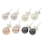 Ujërave të ëmbla Pearl Ring Finger, Pearl kulturuar ujërave të ëmbla, with Tunxh, Round, natyror, ngjyra të përziera, 6-7mm, 22x14x3.5cm, 36Çiftet/Kuti,  Kuti