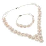 Natyrore kulturuar Pearl ujërave të ëmbla bizhuteri Sets, Pearl kulturuar ujërave të ëmbla, with Xham, Shape Tjera, natyror, purpurtë drita, 9-10mm, :16Inç, 7Inç,  I vendosur