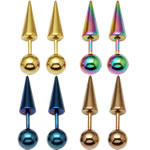 Stainless Steel Ear Piercing Jewelry, Spike, more colors for choice, 23x6mm, Sold by Pair