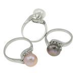 Ujërave të ëmbla Pearl Ring Finger, Pearl kulturuar ujërave të ëmbla, with Tunxh, Shape Tjera, natyror, ngjyra të përziera, 10-11mm, 22x14x3.5cm, :6, 36PC/Kuti,  Kuti