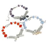 Bracelets Crystal, Kristal, with Pearl kulturuar ujërave të ëmbla, Shape Tjera, ngjyrë platin praruar, me diamant i rremë, ngjyra të përziera, 6-7mm, :7.5Inç, 12Fillesat/Qese,  Qese