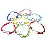 Velvet Bracelets Fashion Cord, Kurrizit Lesh, with Diamant i rremë & Alloy zink, ngjyra të përziera, 39x14x3mm, 2.5mm, :7Inç, 50Fillesat/Shumë,  Shumë