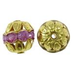 Beads Hollow tunxh, Round, ngjyrë ari praruar, me diamant i rremë & i uritur, asnjë, , nikel çojë \x26amp; kadmium falas, 10mm, : 1mm, 100PC/Qese,  Qese