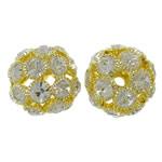Beads bizhuteri Diamant i rremë, Tunxh, Daulle, ngjyrë ari praruar, me diamant i rremë & i uritur, asnjë, , nikel çojë \x26amp; kadmium falas, 24x22mm, : 4.5mm, 2PC/Qese,  Qese