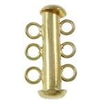 Slide tunxh Lock kapje, Shape Tjera, ngjyrë ari praruar, 3-fije floku, asnjë, , nikel çojë \x26amp; kadmium falas, 11x20x6mm, : 2mm, 10PC/Qese,  Qese