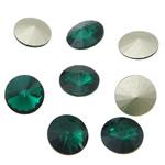Cabochons Crystal, Kristal, Round Flat, argjend praruar vërtetë, mbrapa Rivoli, Smerald, 16x16x6mm, 144PC/Qese,  Qese