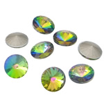 Cabochons Crystal, Kristal, Round Flat, argjend praruar vërtetë, colorful kromuar & mbrapa Rivoli, Kristal, 16x16x6mm, 144PC/Qese,  Qese