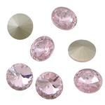 Cabochons Crystal, Kristal, Round Flat, argjend praruar vërtetë, mbrapa Rivoli, Lt Rose, 16x16x6mm, 144PC/Qese,  Qese