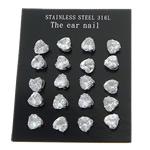 Një palë vathë Stainless Steel, 316L Stainless Steel, Zemër, asnjë, me zirconia kub, e bardhë, 5x5mm, 5Çanta/Shumë, 10Pairs/Bag,  Shumë