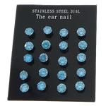 Një palë vathë Stainless Steel, 316L Stainless Steel, Shape Tjera, asnjë, me zirconia kub, blu, 3x3mm, 5Çanta/Shumë, 10Pairs/Bag,  Shumë