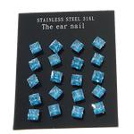 Një palë vathë Stainless Steel, 316L Stainless Steel, Shape Tjera, asnjë, me zirconia kub, blu, 6x6mm, 2Çanta/Shumë, 10Pairs/Bag,  Shumë