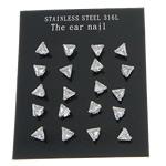 Një palë vathë Stainless Steel, 316L Stainless Steel, Trekëndësh, asnjë, me zirconia kub, e bardhë, 5x5mm, 5Çanta/Shumë, 10Pairs/Bag,  Shumë