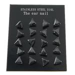 Një palë vathë Stainless Steel, 316L Stainless Steel, Trekëndësh, asnjë, me zirconia kub, e zezë, 6x6mm, 3Çanta/Shumë, 10Pairs/Bag,  Shumë