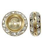 Beads Spacer tunxh, Rondelle, ngjyrë ari praruar, me diamant i rremë, asnjë, , nikel çojë \x26amp; kadmium falas, 13x5.5mm, : 1mm, 10PC/Qese,  Qese