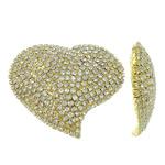 Bizhuteri tunxh Gjetja, Zemër, ngjyrë ari praruar, me diamant i rremë, asnjë, , nikel çojë \x26amp; kadmium falas, 59x50x3mm, 2PC/Qese,  Qese