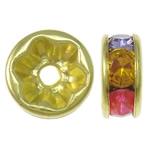 Beads Spacer tunxh, Petull e ëmbël në formë gjevreku, ngjyrë ari praruar, me diamant i rremë, ngjyra të përziera, , nikel çojë \x26amp; kadmium falas, 8x4mm, : 1.5mm, 100PC/Qese,  Qese