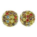 Beads bizhuteri Diamant i rremë, with Tunxh, Round, ngjyrë ari praruar, i uritur, multi-colored, 21mm, : 3.5mm, 2PC/Qese,  Qese