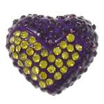 Diamant i rremë balta Beads hapë, Argjilë, Zemër, asnjë, me diamant i rremë & gjysmë-shpuar, vjollcë, 17x16x11mm, : 1mm, 10PC/Qese,  Qese