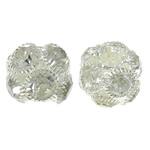 Beads bizhuteri Diamant i rremë, with Tunxh, Daulle, Ngjyra argjend praruar, i uritur, e bardhë, 15x12.5mm, : 4.5mm, 10PC/Qese,  Qese