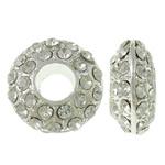 Alloy zink Beads diamant i rremë, Rondelle, Ngjyra argjend praruar, me diamant i rremë & vrimë e madhe, asnjë, , nikel çojë \x26amp; kadmium falas, 15.5x7mm, : 5.5mm, 10PC/Qese,  Qese