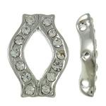 Ndarësit diamant i rremë, Tunxh, Shape Tjera, ngjyrë platin praruar, 3-fije floku & me diamant i rremë, asnjë, , nikel çojë \x26amp; kadmium falas, 11.50x16.50x3.50mm, : 1mm, 10PC/Qese,  Qese