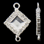 Connector tunxh Setting, Romb, Ngjyra argjend praruar, me diamant i rremë & 1/1 loop, asnjë, , nikel çojë \x26amp; kadmium falas, 15x22x3mm, : 1.5-2mm, 10PC/Qese,  Qese