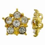Beads Alloy zink Lule, ngjyrë ari praruar, me diamant i rremë & double-vrimë, asnjë, , nikel çojë \x26amp; kadmium falas, 18x16x6mm, : 2mm, 10PC/Qese,  Qese