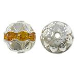 Beads bizhuteri bronzi, Tunxh, Round, Ngjyra argjend praruar, me diamant i rremë & i uritur, asnjë, , nikel çojë \x26amp; kadmium falas, 10mm, : 1mm, 100PC/Qese,  Qese