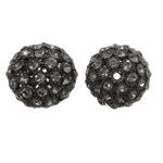 Beads bizhuteri Diamant i rremë, Tunxh, Daulle, plumbit ngjyrë të zezë praruar, me diamant i rremë & i uritur, asnjë, , nikel çojë \x26amp; kadmium falas, 27x26mm, : 3mm, 2PC/Qese,  Qese