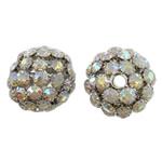Beads bizhuteri Diamant i rremë, Tunxh, Daulle, ngjyrë platin praruar, me diamant i rremë & i uritur, asnjë, , nikel çojë \x26amp; kadmium falas, 30x29mm, : 5mm, 2PC/Qese,  Qese
