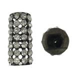 Beads tunxh Tube, Kolonë, plumbit ngjyrë të zezë praruar, me diamant i rremë & i uritur, asnjë, , nikel çojë \x26amp; kadmium falas, 16x32mm, : 1mm, 5PC/Qese,  Qese