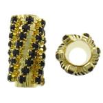 Strass Messing Perlen, Rohr, goldfarben plattiert, mit Strass, frei von Nickel, Blei & Kadmium, 12x22mm, Bohrung:ca. 6mm, 10PCs/Tasche, verkauft von Tasche