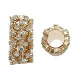 Beads bizhuteri Diamant i rremë, Tunxh, Tub, ngjyrë ari praruar, me diamant i rremë, asnjë, , nikel çojë \x26amp; kadmium falas, 12x23mm, : 7mm, 10PC/Qese,  Qese