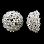 Bizhuteri tunxh Gjetja, Lule, Ngjyra argjend praruar, me diamant i rremë & i uritur, asnjë, , nikel çojë \x26amp; kadmium falas, 16x8mm, : 2mm, 10PC/Qese,  Qese