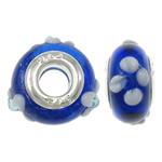 Lampwork Style European, Rondelle, punuar me dorë, core argjendi i pastër me dy pa karrem & me gunga, asnjë, 14.5x8.5mm, : 5mm, 50PC/Qese,  Qese