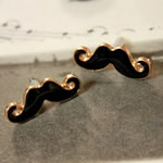 Enamel Zinc Alloy Stud Earring, Black, moustache, gold color plated, cadmium free, 24x8mm, Approx 500Pairs/Lot, Sold by Lot