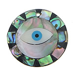 Abalone Shell Pendants, Flat Round, evil eye pattern, with black & white shell & resin, 30x30x4mm, Hole:Approx 2MM, Sold by PC