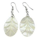 White Shell Earrings, Leaf, natural, with brass hook, platinum color plated, 55mm, 21x30x2mm, Sold by Pair