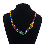 Necklaces Shell, Predhë, with Kristal & Hekur, Shape Tjera, ngjyrë platin praruar, asnjë, multi-colored, 12mm, 10x7mm, 8x6mm, 7-10mm, :17Inç, 10Fillesat/Shumë,  Shumë