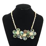 Necklaces Shell, Shell Guaskë, with Pearl kulturuar ujërave të ëmbla, Lule, ngjyrë platin praruar, asnjë, asnjë, 43x43x15mm, 7mm, 16x16mm, :18Inç, 3Fillesat/Shumë,  Shumë
