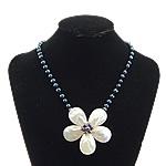 Necklaces Shell, White Shell, with Pearl kulturuar ujërave të ëmbla, Lule, ngjyrë platin praruar, asnjë, asnjë, 65x65x18mm, 6mm, 14x14mm, :19Inç, 5Fillesat/Shumë,  Shumë