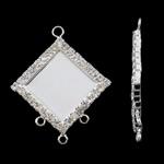 Connector tunxh Setting, Romb, Ngjyra argjend praruar, me diamant i rremë & 1/3 loop, asnjë, , nikel çojë \x26amp; kadmium falas, 27x33x2.50mm, : 2mm, 10PC/Qese,  Qese